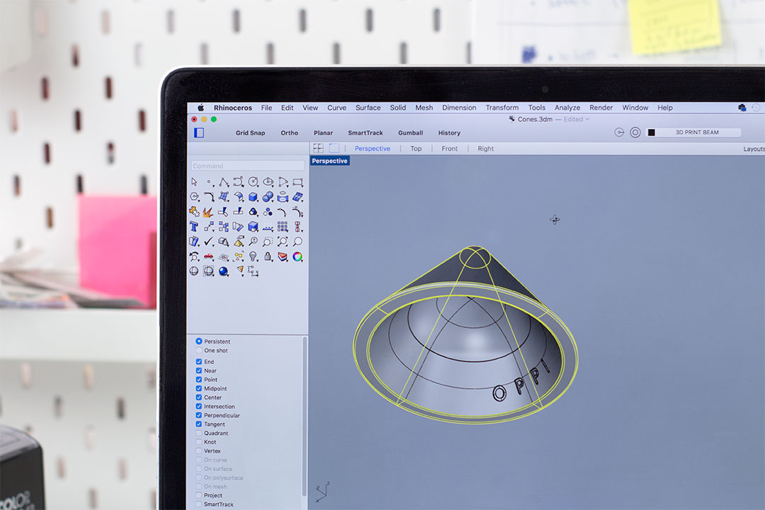 Le contrôle d'un rendu 3D d'un cônes PIKS sur le logiciel durant le R&D en design et éducation